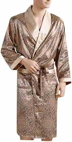 Lutratocro Men s Belted Sleepwear Lounge Simple Print Comfortable Thin Silk  Robes 26b3fda4c