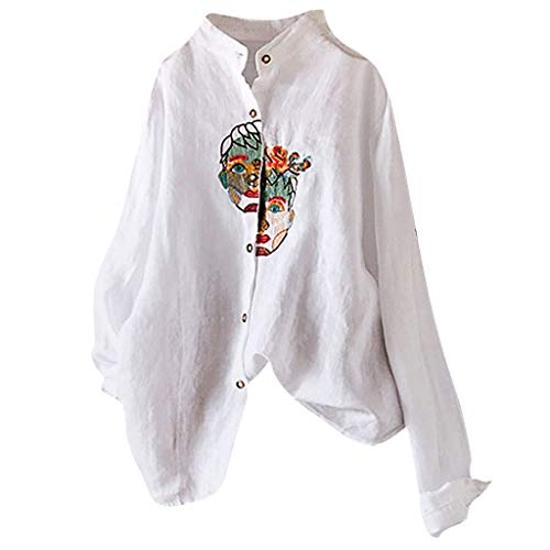 Fshinging Womens Plus Size Shirts Cotton and Linen Blouse Vintage Embroidery Tops Blouse Long Sleeve Tee(White,XXXXL)
