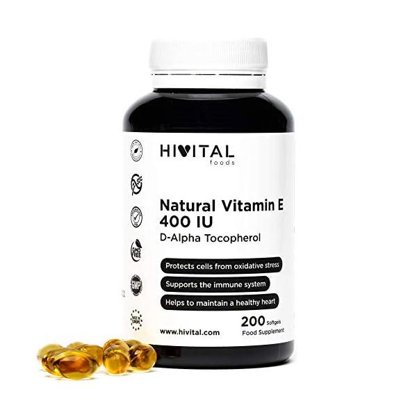 Vitamine E Naturelle 400 UI (D-Alpha Tocophérol) | 200 capsules (plus de 6 mois de traitement) | Protège vos cellules…