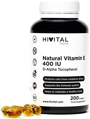 Vitamina E Natural 400 UI | 200 perlas, (Más