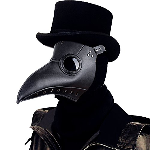 Raxwalker Plague Doctor Bird Mask Long Nose Beak Cosplay Steampunk Halloween Costume Props (Black) -