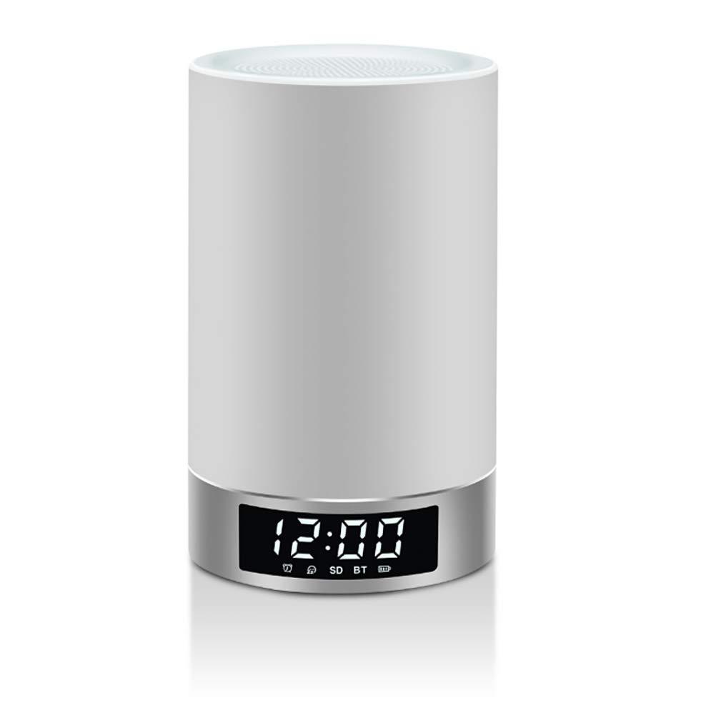 ワイヤレススピーカー, クリエイティブワイヤレスBluetoothスピーカーインテリジェント音楽目覚まし時計LEDランプスピーカー B07SGM3CN7