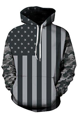 Haloon 3d Realistic Printed Big Pockets Drawstring Hoodie Sweatshirt The USA Flag XL (Usa Sweatshirt Flag)