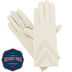 Isotoner Women's Spandex smarTouch Chevron Gloves, Oyster, Large/X-Large
