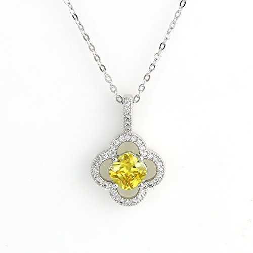 Canary Yellow Colour - United Elegance - Sophisticated Silver Tone Designer Solitaire Necklace with Stunning Canary Yellow Faux Sapphire and Twinkling Swarovski Style Crystals in a Clover Design (Canary Yellow Show Stopper)
