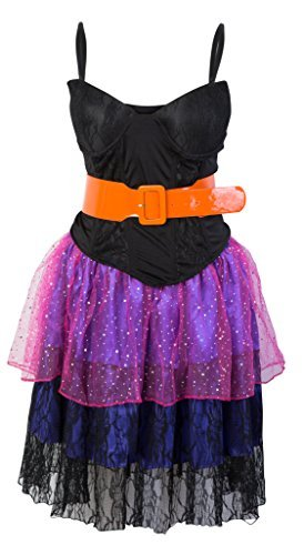 80s Pop Star Fancy Dress Ladies 1980s Cyndi Lauper Womens Costume Outfit - Four Sizes from 8 to 14