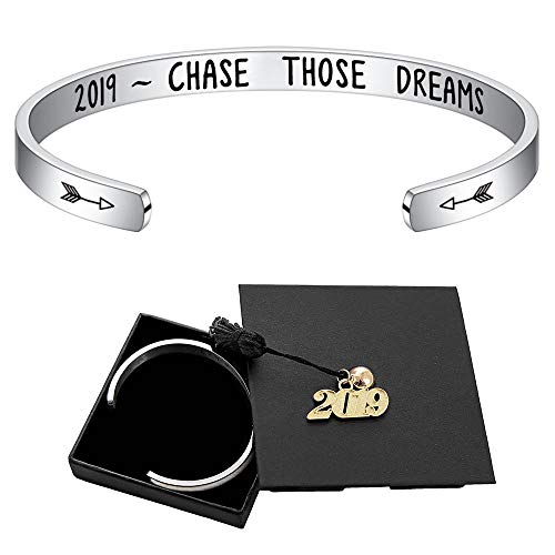 Inspirational Graduation Bracelet Women Gifts - Cuff Bangle Engraved 2019 Thase Those Dreams Inspirational Graduation Gifts Friends Gifts Classmates Gifts Birthday Gifts Fight Cancer Gifts for Her Him