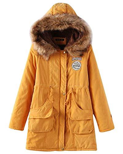 Parka Jacket Abrigos con Slim Liangzhu Capucha Mujer Pullover Chaqueta Abrigo Amarillo Capa De Casual Largo XL 7wqnqxpPA