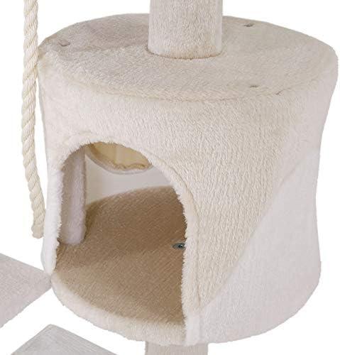 dibea Arbre à chat arbre à grimper griffoir pour chat hauteur 112 cm beige/blanc