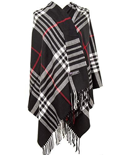 Cashmere Nova Check - 2PLY 100% Cashmere Blanket Oversized Scarf OS Tartan Nova Check Scotland Wool Plaid (Black White Nova Tartan Check Plaid)
