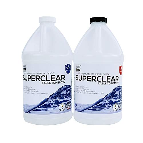 SUPERCLEAR EPOXY Resin Crystal Clear 1 Gallon Kit, Fiberglass Coatings, Inc, for River Tables, Live Edge Tables, BAR Tops, 2 Part Tabletop & COUNTERTOP EPOXY Resin KIT, Art Resin 1:1 ()