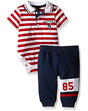 Tommy Hilfiger Baby Boys' Stripe Jersey Bodysuit and Solid French Terry Pants