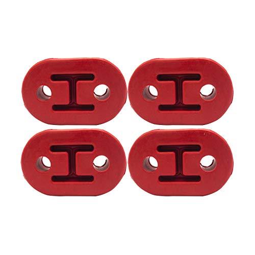 2 Hole Exhaust Hanger Bushing Muffler Insulator Shock Absorbent Mount Bracket High Density Rubber 12mm Hole (78mm x 48mm x 26mm) Universal Fit - Pack of 4 (Red)