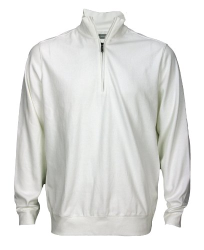 Ashworth Men's Half Zip Pullover Sweater (Large, White)