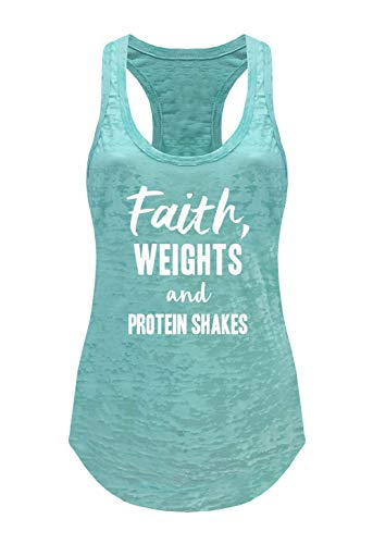 Ever Hottie by Tough Cookie's Women's Faith, Weights & Protein Shakes Burnout Tank Top (Small - LF, Mint)