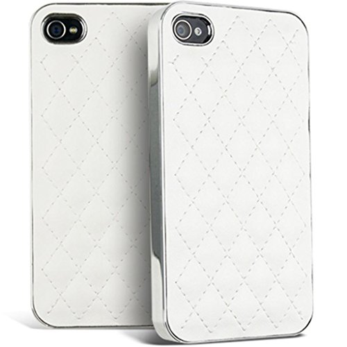 Mobile Case Mate iPhone 4s White Matelassé Cuir avec Bords argent clip on Dur Coque couverture case cover Pare-chocs