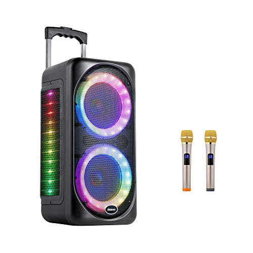 Shinco Bluetooth Party Speaker, Dual 8 inch Subwoofer, Portable Karaoke Machine with 2 Wireless Microphones, Flashing DJ Lights and Rechargeable Battery