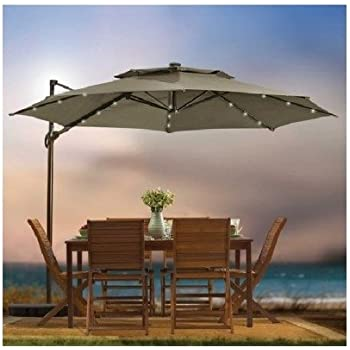 Outdoor Patio Cantilever Umbrella 11 Foot Round Canopy With Solor Powered  Lights Includes Base Stand And Storage Cover (Mocha)