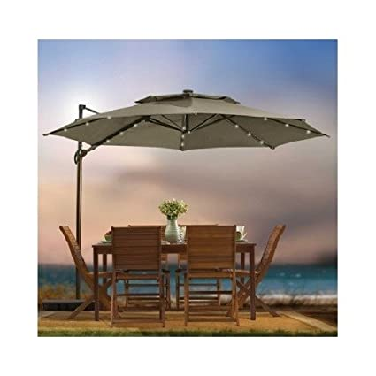 Outdoor Patio Cantilever Umbrella 11 Foot Round Canopy With Solor Powered  Lights Includes Base Stand And