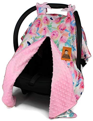 Car Seat Canopy, Blue Butterflies Watercolor Flowers, Pink Minky ()
