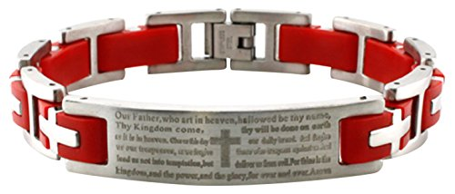 Stainless Steel Lord's Prayer Biker Red Rubber Inlay Link - Link Mens Rubber