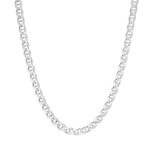 - 5mm .925 Sterling Silver Flat Mariner Link Anchor Chain Necklace (24