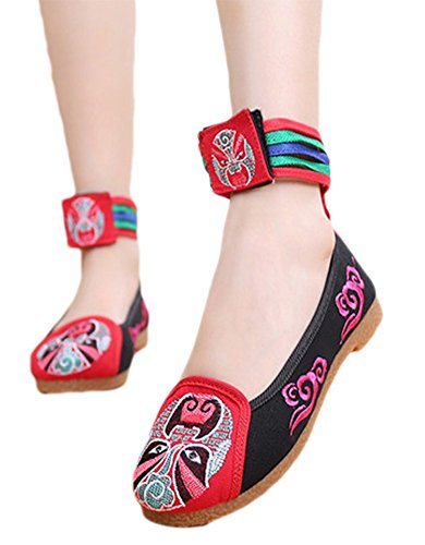 AvaCostume Opera Embroidery Rubber Sole Velcro Flats Daceing Dress Shoes Red egnLM