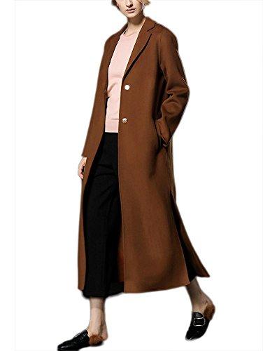 casuali in M lunghi Colore S vento caramel Ispessimento Fit autunno L Giacca in Slim Cappotto Abiti cashmere inverno Outwear lana Capispalla XL caramello Collare Giacca a bifacciale donna T8CUq