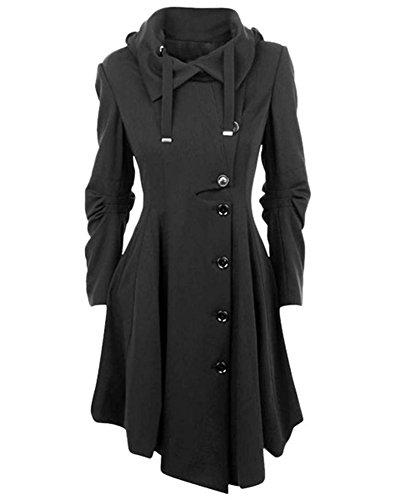 De Manga Largo Lana Chaquetas Mujer Mezcla Coat Abrigos Irregular Negro Larga Trench 0qw60EX