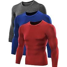 Neleus Men's 3 Pack Athletic Compression Sport Running Long Sleeve T Shirt