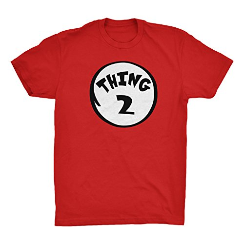 Thing I And Thing 2 Costumes (CUSC THING 2 Adult Unisex T-shirt Family Couple Halloween Costume Dr.Cat Tee Red X-Large)