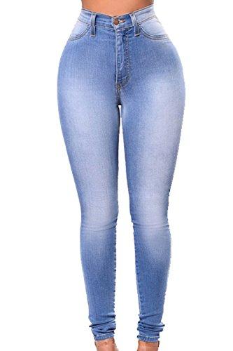 yulinge Femmes De L't Des Jeans Pantalons Taille Haute, Blue