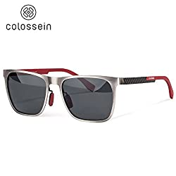 Polarized Sunglasses For Men Metal Frame Carbon Fibre Arm Light Weight Reliable Fashion Glasses,Grey Color