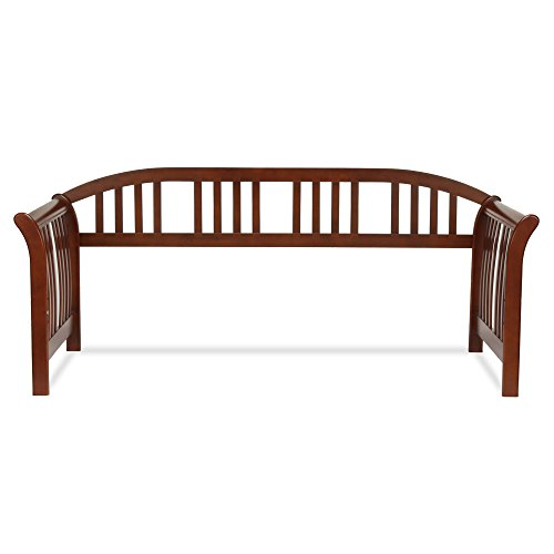 Salem Wood Daybed Frame with Curved Back Panel and Sleigh Arms, Mahogany Finish, - Mahogany Daybed Bedroom