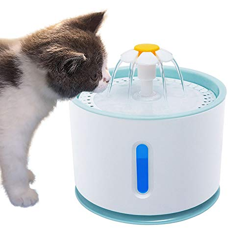 bromrefulgenc 2.4L Cat Dog Flower Outlet Automatic Pet Fountain Water Dispenser Drinking Bowl Blue