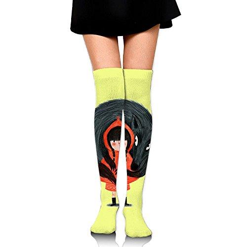 ずらす巧みな聴覚赤ずきん ストッキング サイハイソックス 3D デザイン 女性男性 秋と冬 フリーサイズ 美脚 かわいいデザイン 靴下 足元パイル ハイソックス メンズ レディース ブラック