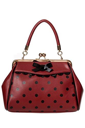 Handbag Burgundy Little Handle Thing Polka Bag Vintage Crazy Top Rockabilly 50s Banned Green pfqxS4wv