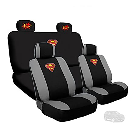 Ultimate Superman Car Seat Covers With Classic POW Logo Headrest Gift Set