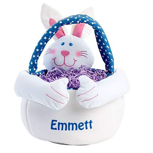 Lillian Vernon Personalized Plush Boy Easter Bunny Basket Tote - 14