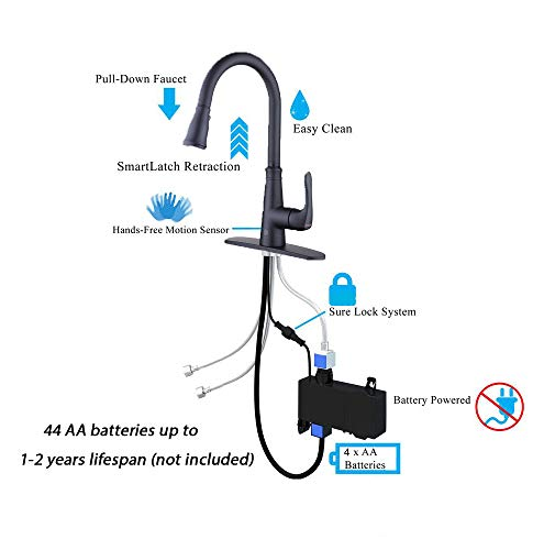 Touchless Kitchen Faucet with PullDown Sprayer,20 Single Kitchen Sink Faucets Black Pull Out Sprayer,High Arc Pulldown Single Handle for Motion Sensor,1handle 3 Hole Deck Mount,Black (Black)