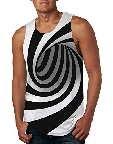 Men Muscle Tank Top 3D Vertigo Hypnotic Stylish Round Neck Training Under Waist Sweat Sleeveless Vest Shirt - Round Mens Neck
