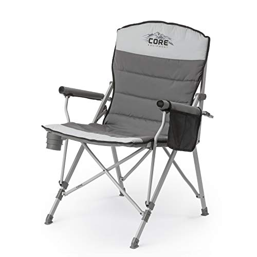 CORE 40021 Equipment Folding Padded Hard Arm Chair with Carry Bag, Gray