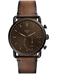Men's Commuter Stainless Steel and Leather Hybrid Smartwatch, Color: Black, Brown (Model: FTW1149)