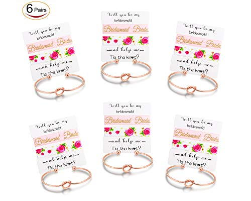 Nymph Code Bridesmaid Gifts Bachelorette Party Supplies - 6 Set Rose Gold Love Knot Bracelets with Bridesmaid Hair Ties,Perfect Bridal Shower Gifts for Bridesmaid by Nymph Code (Image #6)