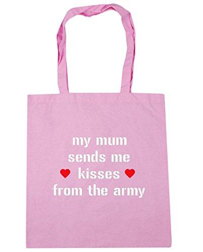 HippoWarehouse mi madre Me envía besos desde el Ejército Bolsa de la compra bolsa de playa 42cm x38cm, 10litros Classic Pink