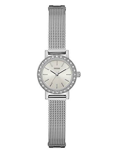 GUESS Women's Stainless Steel Crystal Mesh Bracelet Watch, Color: Silver-Tone (Model: - Watch Guess Accent Crystal
