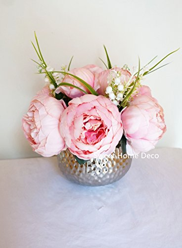 Sweet Home Deco Silk Peony Arrangement in Silver Ceramic Vase Table Flower Home Decor Wedding Centerpiece (Pink) (Flower Peony Arrangements)
