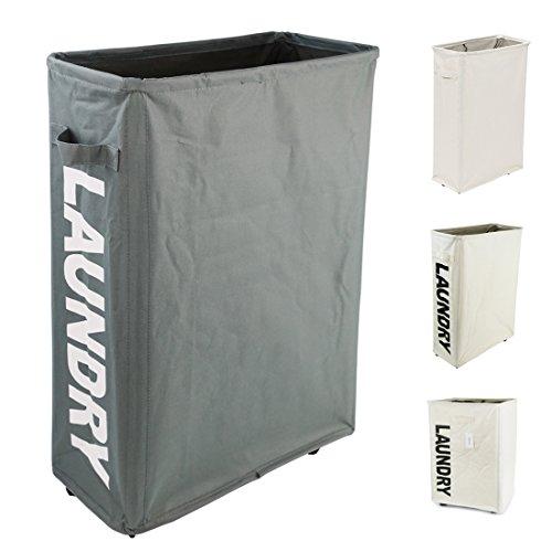Homiak Slim-line Laundry Hamper With Wheels for Clothes Storage and Organization, Laundry Bins with Handles on Wheels (L15.4 x W7.3 x H22 inch) (Dark Grey)