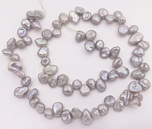 (6-9mm Top drilled Silver Gray Baroque keshi Pearl Loose Beads 15 inches Jewelry Making)