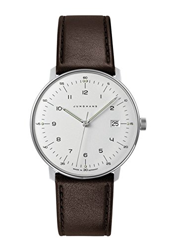- Junghans Men's Max Bill Stainless Steel Quartz Watch with Leather Calfskin Strap, Brown, 20 (Model: 041/4461.04)